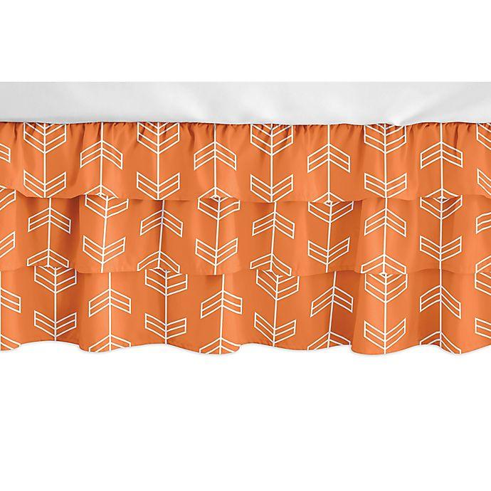 Alternate image 1 for Sweet Jojo Designs Navy Arrow Crib Skirt in Orange/White