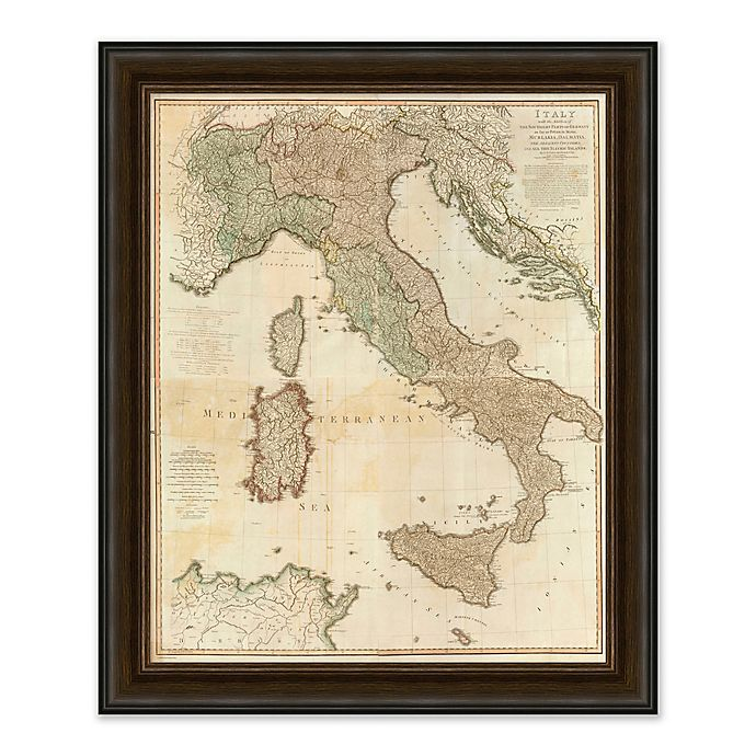 Alternate image 1 for Vintage Italy Map 29-Inch x 35-Inch Framed Wall Art