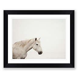 White Horse Paper Print Framed Wall Art