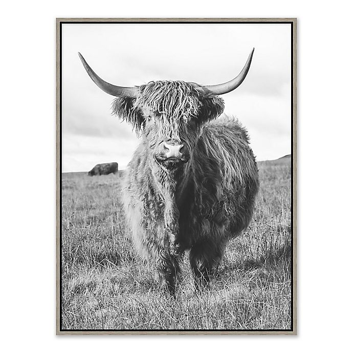 Alternate image 1 for Cow 31.75-Inch x 41.75-Inch Framed Canvas in Black/white