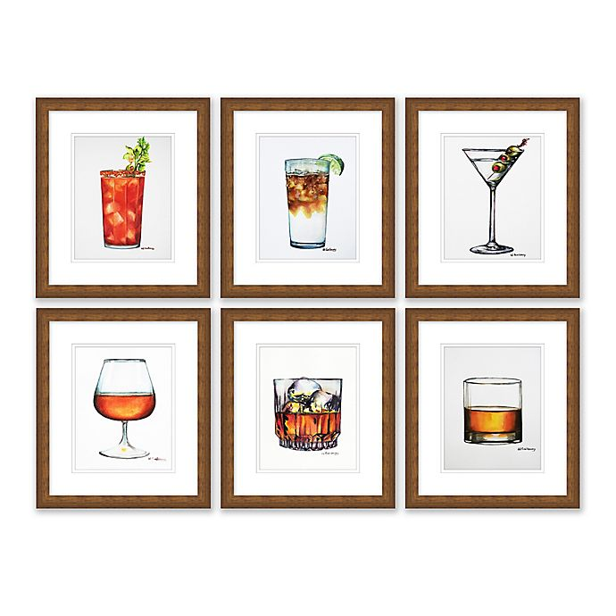 Alternate image 1 for Six Drinks 10-Inch x 11.5-Inch Framed Wall Art