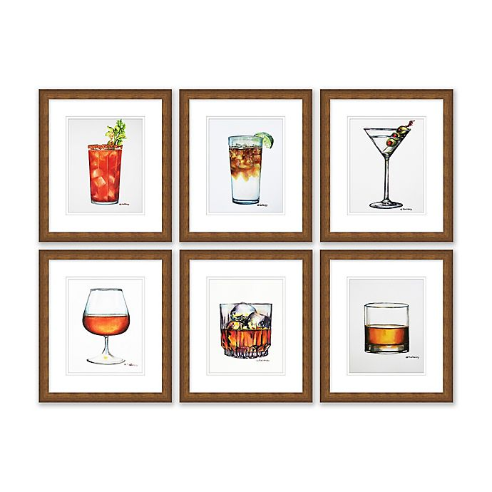 Alternate image 1 for Six Drinks 13.5-Inch x 15.5-Inch Framed Wall Art