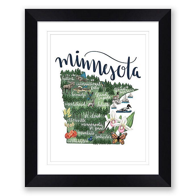 Alternate image 1 for Minnesota Map 22.5-Inch x 27.5-Inch Framed Wall Art in Black