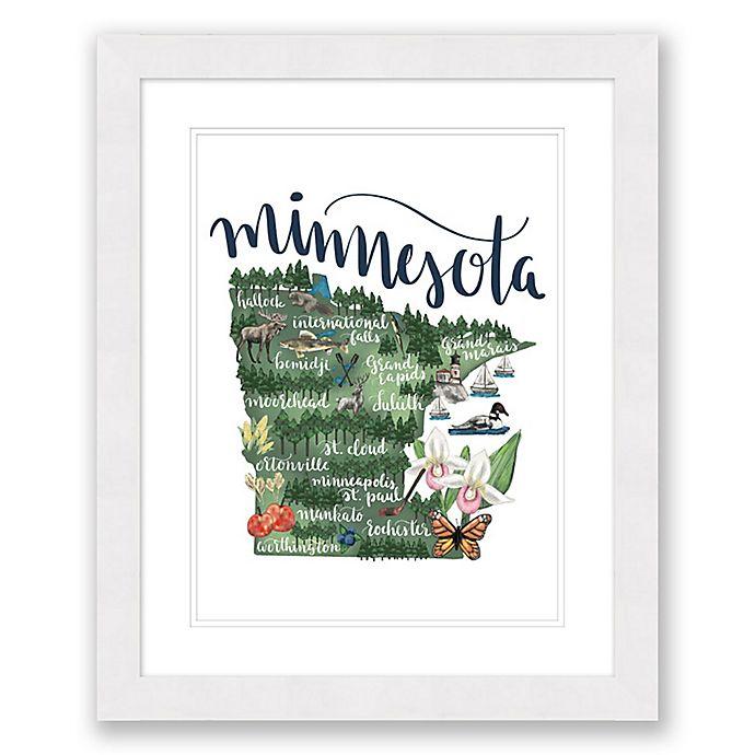 Alternate image 1 for Minnesota Map 22.5-Inch x 27.5-Inch Framed Wall Art in White