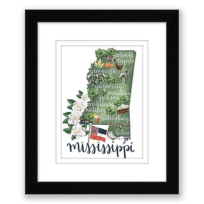 Alternate image 1 for Mississippi 15-Inch x 18-Inch Framed Print Wall Art in Black