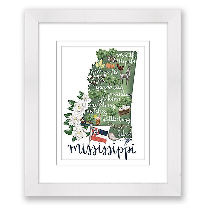 Alternate image 1 for Mississippi 15-Inch x 18-Inch Framed Print Wall Art in White