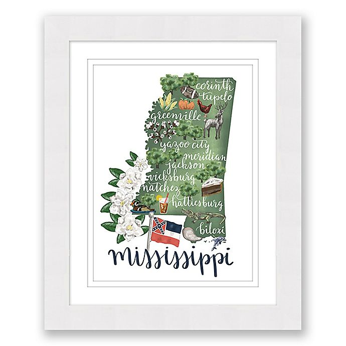 Alternate image 1 for Mississippi 22.5-Inch x 27.5-Inch Framed Print Wall Art in White