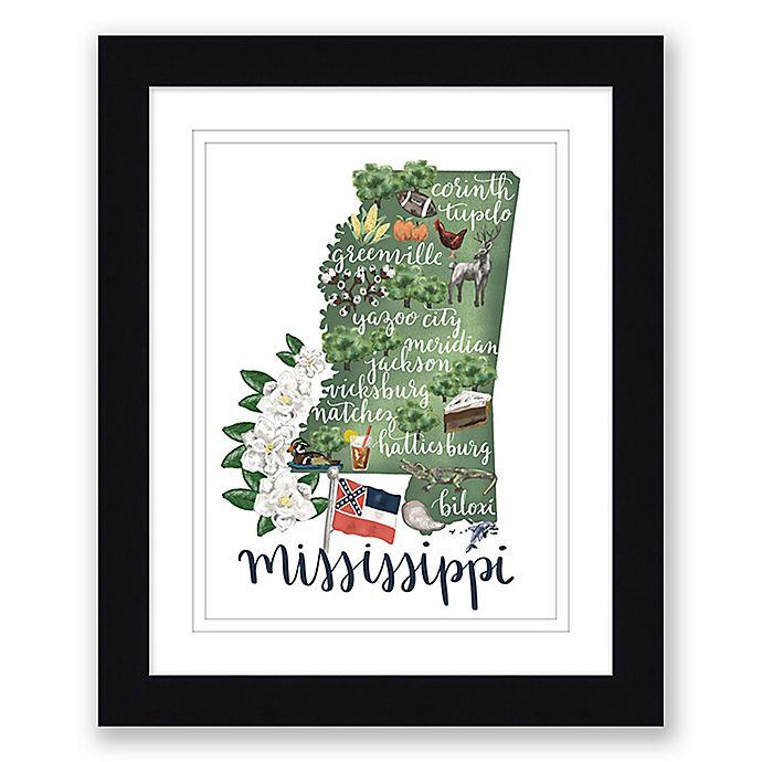 Alternate image 1 for Mississippi 22.5-Inch x 27.5-Inch Framed Print Wall Art in Black