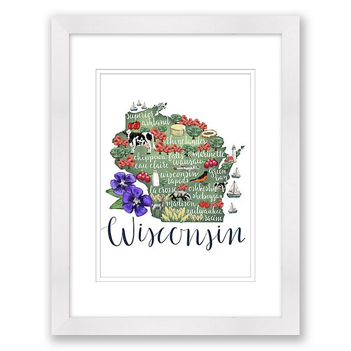 Alternate image 1 for Wisconsin Map 15-Inch x 18-Inch Framed Wall Art in White