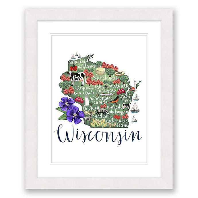 Alternate image 1 for Wisconsin Map 22.5-Inch x 27.5-Inch Framed Wall Art in White