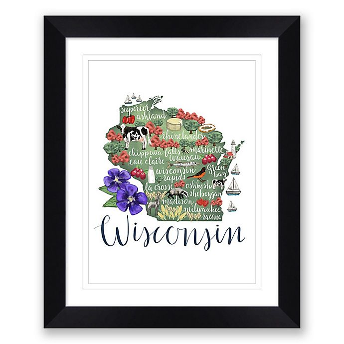 Alternate image 1 for Wisconsin Map 22.5-Inch x 27.5-Inch Framed Wall Art in Black