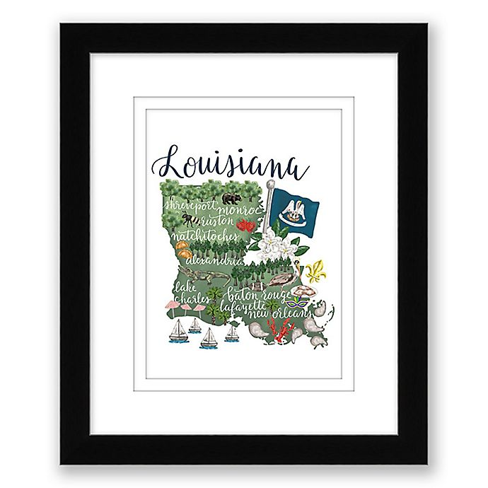 Alternate image 1 for Louisiana Map 15-Inch x 18-Inch Framed Wall Art in Black