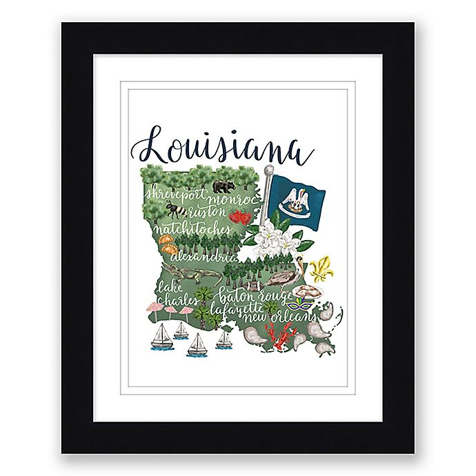 Alternate image 1 for Louisiana Map 22.5-Inch x 27.5-Inch Framed Wall Art in Black