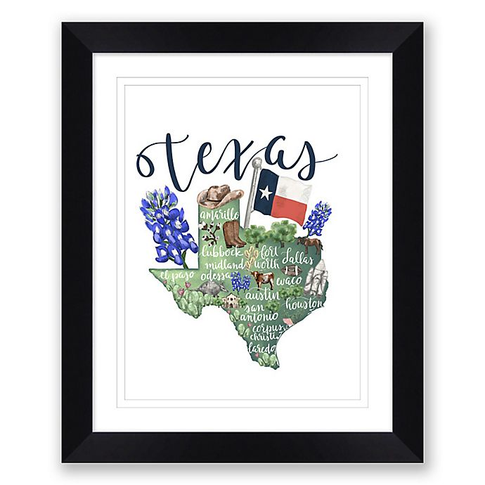 Alternate image 1 for Texas 22.5-Inch x 27.5-Inch Framed Print Wall Art in Black