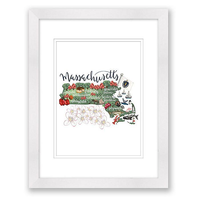 Alternate image 1 for Massachusetts 15-Inch x 18-Inch Framed Print Wall Art in White
