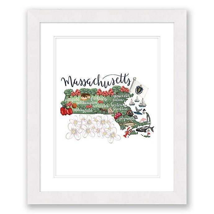 Alternate image 1 for Massachusetts 22.5-Inch x 27.5-Inch Framed Print Wall Art in White