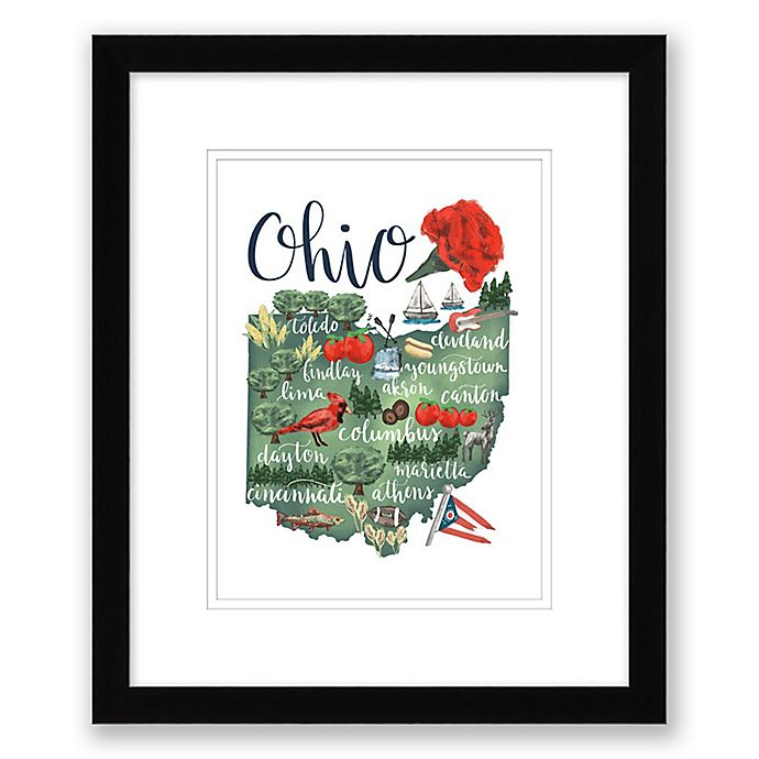Alternate image 1 for Ohio 15-Inch x 18-Inch Framed Print Wall Art in Black
