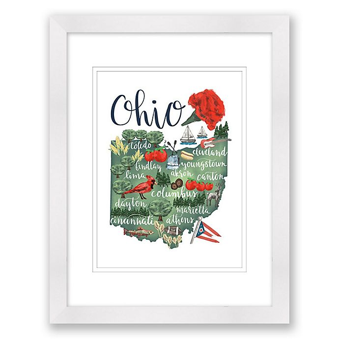 Alternate image 1 for Ohio 15-Inch x 18-Inch Framed Print Wall Art in White