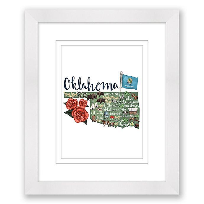 Alternate image 1 for Oklahoma 15-Inch x 18-Inch Framed Print Wall Art in White