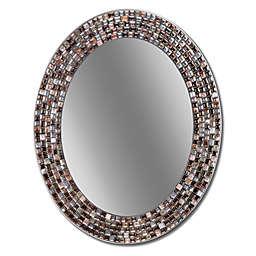 Head West 23-Inch x 29-Inch Frameless Copper Oval Mosaic Wall Mirror