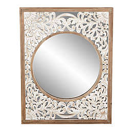 Uma Wooden White Scroll 32-Inch x 42-Inch Rectangular Wall Mirror