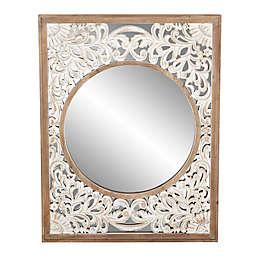 Uma Wooden White Scroll 32-Inch x 42-Inch Rectangular Wall Mirror