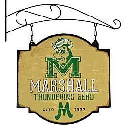 Marshall University Vintage-Inspired Metal Pub Sign in Cream