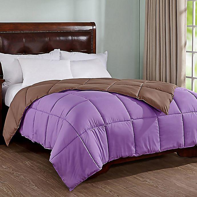 Alternate image 1 for Peace Nest Reversible Full/Queen Down Alternative Comforter in Purple/Brown