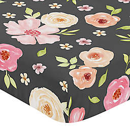 Sweet Jojo Designs® Watercolor Floral Fitted Crib Sheet in Black/Pink