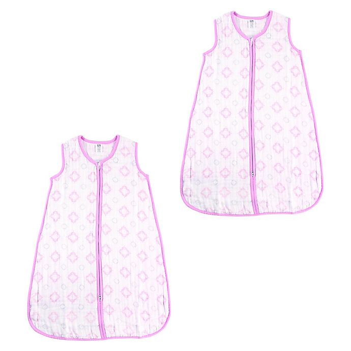 Alternate image 1 for Hudson Baby® 2-Pack Cotton Muslin Wearable Blanket in Pink