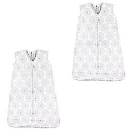 Hudson Baby® 2-Pack Modern Flower Sleeping Bags in White