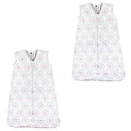 Hudson Baby® Size 18-24M 2-Pack Modern Flower Sleeping Bags in White