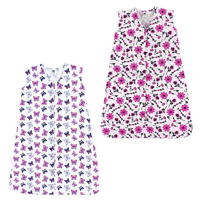 Alternate image 1 for Hudson Baby® 2-Pack Flowers and Butterflies Sleep Sacks in Pink