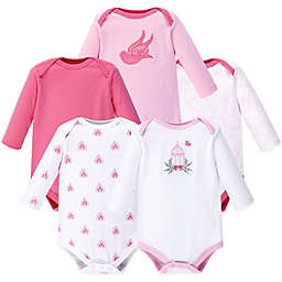 Hudson Baby® Size 18-24M 5-Pack Bird Cage Long-Sleeve Bodysuits in Pink