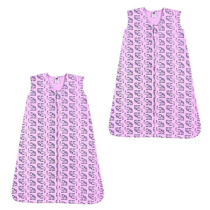 Alternate image 1 for Hudson Baby® 2-Pack Boho Elephant Sleep Sacks in Pink