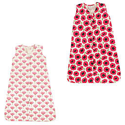 Touched by Nature 2-Pack Poppy and Tulip Organic Cotton Sleep Sacks in Red