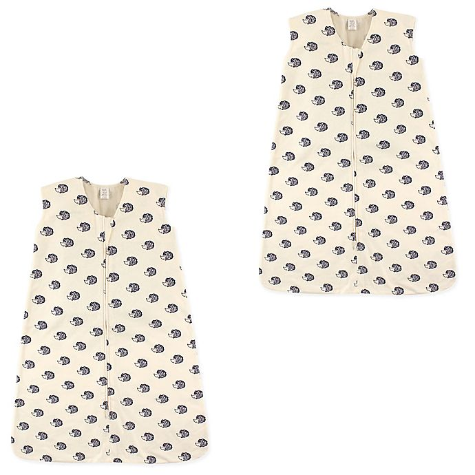 Alternate image 1 for Touched by Nature® Hedgehog 2-Pack Organic Cotton Wearable Blanket in White