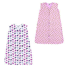 Hudson Baby® 2-Pack Hearts and Butterfly Sleeping Bags in Pink