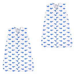 Hudson Baby® 2-Pack Whale Wearable Sleeping Bags in Blue