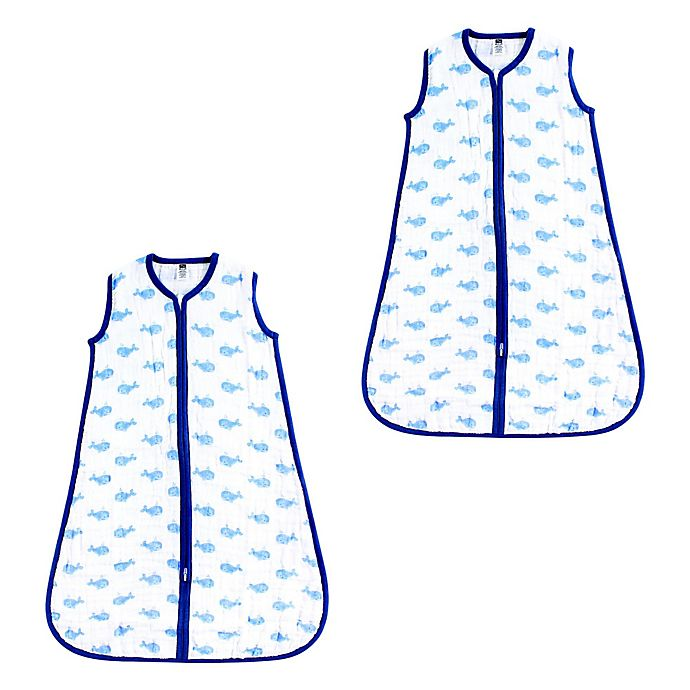 Alternate image 1 for Hudson Baby® 2-Pack Whale Wearable Blankets in Blue