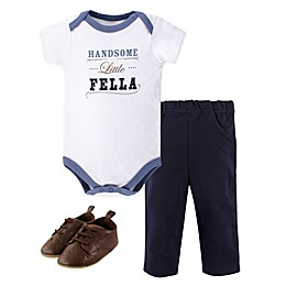 Little Treasure 3-Piece Handsome Fella Bodysuit, Pant, and Shoes Set in Blue