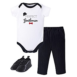 Little Treasure® 3-Piece Gentleman Top, Bodysuit, Pant and Shoes Set in Black