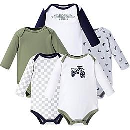 Hudson Baby® 5-Pack Dirt Bike Long Sleeve Bodysuits in Green