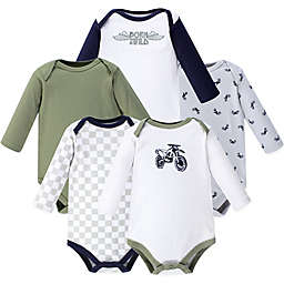 Hudson Baby® Size 18-24M 5-Pack Dirt Bike Long Sleeve Bodysuits in Green