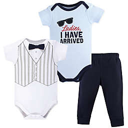 Hudson Baby® 3-Piece Ladies, I Have Arrived Bodysuits and Pant Set in Blue