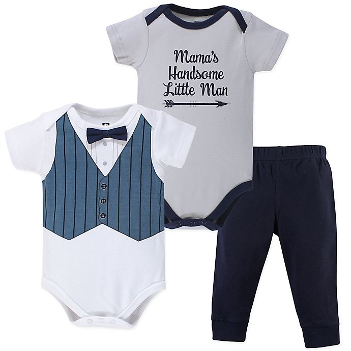 013fcc0a1bdb Hudson Baby® 3-Piece Handsome Little Man Bodysuits and Pant Set in ...