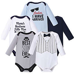 Hudson Baby® Size 18-24M 5-Pack Handsome Little Man Long Sleeve Bodysuits in Grey