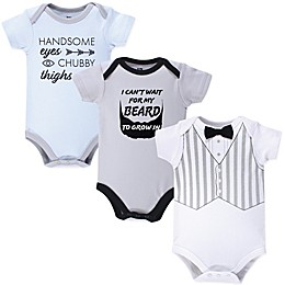 Hudson Baby® 3-Pack Handsome Eyes Short Sleeve Bodysuits in Grey