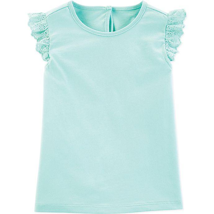 Alternate image 1 for OshKosh B'gosh® Flutter Sleeve T-Shirt in Aqua