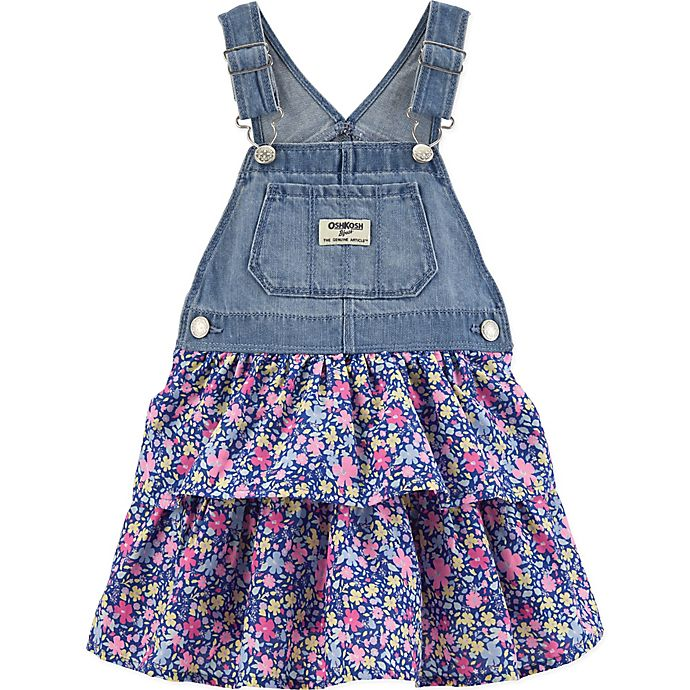 Alternate image 1 for OshKosh B'gosh® Denim and Floral Skortall in Blue